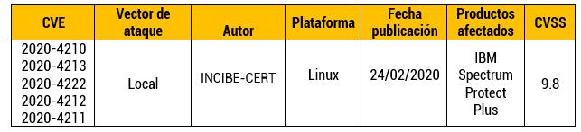 Vulnerabilidades de inyección de comandos en IBM Spectrum Protect Plus